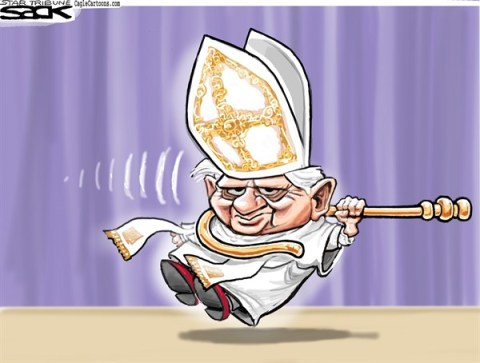 Steve Sack - The Minneapolis Star Tribune - Pope Exit color - English - Pope, Benedict, retire