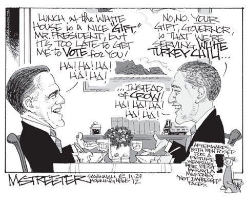 Leftovers © Mark Streeter,The Savannah Morning News,obama,white house,lunch,leftovers,romney,vote,crow,turkey