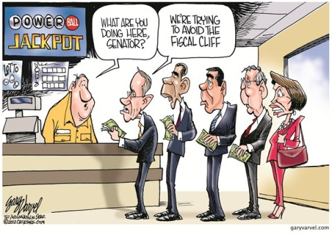 Powerball Cliff © Gary Varvel,The Indianapolis Star News,fiscal cliff,powerball,money,budget,tax,senator,powerball-lottery