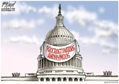 Procrastinators Anonymous © Gary Varvel,The Indianapolis Star News,fiscal cliff,procrastinators,anonymous,white house