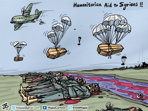 Emad Hajjaj - Jordan - Aid to Syrians - English - humanitarian aid to syrian people,international aid,civil war,Bashar Assad,war crimes,airplane drop,parachute,coffin,dead people,massacre,Aleppo,Hums,river,Emad Hajjaj,Middle East,