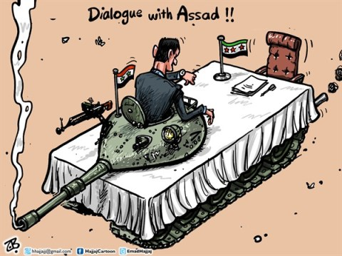 Emad Hajjaj - Jordan - Dialogue with Assad  - English - dialogue with Assad,Bashar Assad,Maath Khateed initiative,tank table,talk,opposition leader,peace talks,war,civil war in Syria,Syrian revolution,war crimes,free army,Emad Hajjaj,Middle East,