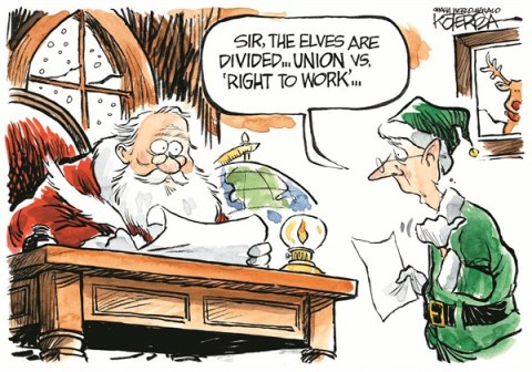 Elves Union © Jeff Koterba,Omaha World Herald, NE,santa,elves,union,right,work,job,north pole,divided,santa-2012