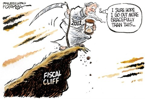 2012 Fiscal Cliff © Jeff Koterba,Omaha World Herald, NE,2012,end,father time,tax,new year 2013,fiscal cliff