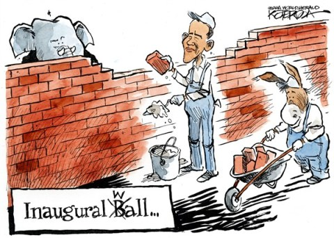 Inaugural Wall © Jeff Koterba,Omaha World Herald, NE,obama,inauguration,ball,wall,gop,term,obama-inauguration