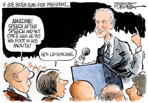Biden for President © Jeff Koterba,Omaha World Herald, NE,lip syncing,joe biden,best of biden,speech,foot,mouth,speech, best of biden,beyonce lip syncing, biden 2016