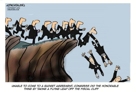 Flying Leap © Ken Catalino,National/Syndicated,tax,leap,fiscal cliff,agreement,budget,congress,obama,stalled,taxes-common-ground