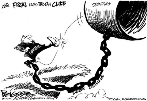 Milt Priggee - www.miltpriggee.com - STILL kicking the can - English - spending, fiscal cliff, congress, budget, debt ceiling