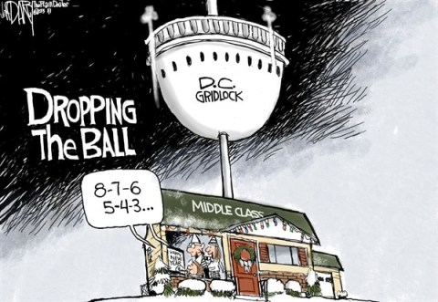 Jeff Darcy - The Cleveland Plain Dealer - Dropping the Ball - English - gridlock,ball,drop,middle class,white house,new year,new-year-2013