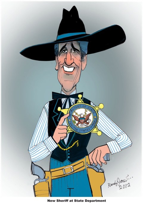 New Sheriff at State Department © Randy Jones,inxart.com,john kerry,nomination,secretary,state,sheriff,kerry-nomination