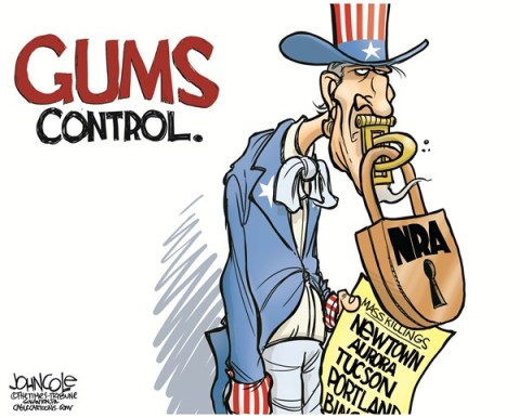 John Cole - The Scranton Times-Tribune - NRA and gun debate COLOR - English - NRA, GUNS, SANDY HOOK, SHOOTINGS, AURORA, PORTLAND, TUCSON, ADAM LANZA, NEWTOWN
