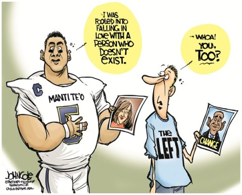 John Cole - The Scranton Times-Tribune - Manti Te'o and Obama COLOR - English - manti teo, notre dame, teo