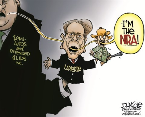 John Cole - The Scranton Times-Tribune - NRA puppets COLOR - English - NRA, wayne lapierre, guns, gon control, gun manufacturers, sandy hook, newtown, hunters, sportsmen