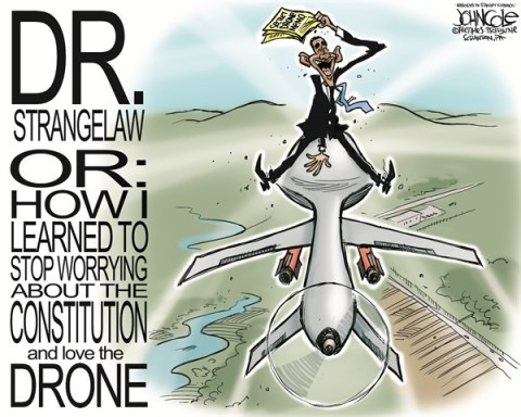 John Cole - The Scranton Times-Tribune - Obama an drones COLOR - English - barack obama, drones, eric holder, memo, secret memo, constitution