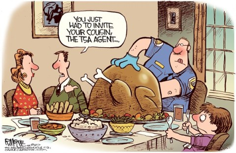Rick McKee - The Augusta Chronicle - TSA Turkey Search COLOR - English - TSA,Thanksgiving,turkey,cavity,search,thanksgiving 2012