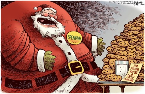 Rick McKee - The Augusta Chronicle - Spending Santa Diet - English - Entitlements, spending, deficit, cuts, fiscal cliff, Obama, Santa