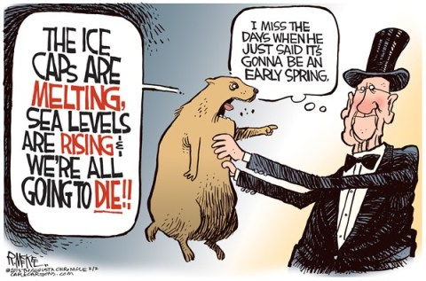 Rick McKee - The Augusta Chronicle - Groundhog Global Warning - English - Groundhog Day, global warming, ice caps, sea levels
