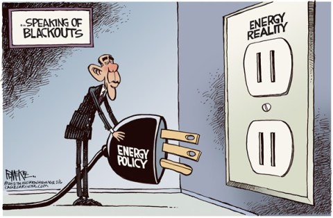 Rick McKee - The Augusta Chronicle - Obama Blackout - English - Obama, Super Bowl, blackout, energy
