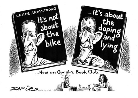 Doping and Lying © Zapiro,zapiro.com ,doping,lying,book,oprah,lance armstrong,admission,cycling,steroids,armstrong-admission