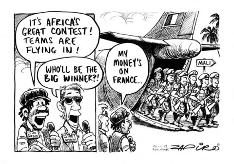 France to the Rescue © Zapiro,zapiro.com ,terror,africa,winner,fight,freedom,terrorist