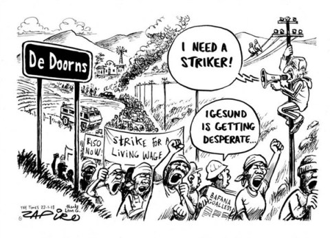 Striker © Zapiro,zapiro.com ,strike,wages,desperate