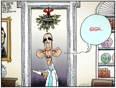 Christopher Weyant - The Hill - The Waiting Game - English - President, Obama, mistletoe, Christmas, budget, proposal, plan, deficit, negotiations, fiscal cliff, sequestration, waiting, GOP, Democrates, House, Congress, Senate, Boehner