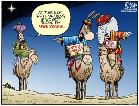 Christopher Weyant - The Hill - Not So Wise Men - English - three wise men, nativity, Christmas, three kings, elephant, GOP, Republicans, donkey, democrats, fighting, fiscal cliff, sequestration, debt, deficit, tax cuts, entitlements, Obama, Congress, House of Representatives, White House, Boehner, negotiations