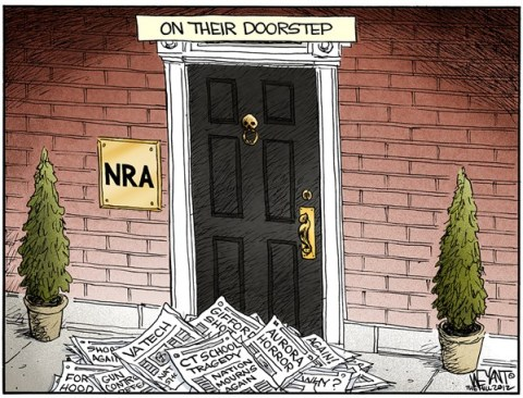 Christopher Weyant - The Hill - On the Doorstep COLOR - English - NRA,National Rifle Association,shooting,Connecticut,children,murder,massacre,America,gun control,evil,Newtown,Adam Lanza,Brady bill,Obama,tragedy,connecticut shooting, gun debate 2012, school violence