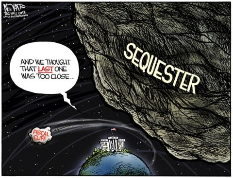 Christopher Weyant - The Hill - Brace for Impact  - English - earth, asteroid, near miss, sequester, sequestration, congress, obama, boehner, GOP, republicans, democrats, white house, fiscal cliff, budget, gridlock, negotiations, taxes, budget cuts