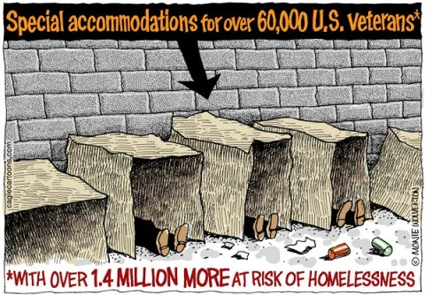 Wolverton - Cagle Cartoons - 60000 Homeless Vets COLOR - English - Veterans, Military, Vets, Homeless, VA, Veterans Administration, Vietnam, Iraq, Afghanistan, Soldiers, Jobs, Employment