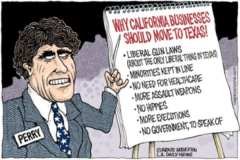 Wolverton - Cagle Cartoons - Perry Pursues California Companies COLOR - English - Perry, Rick Perry, Texas, California, Brown, Business, Jobs