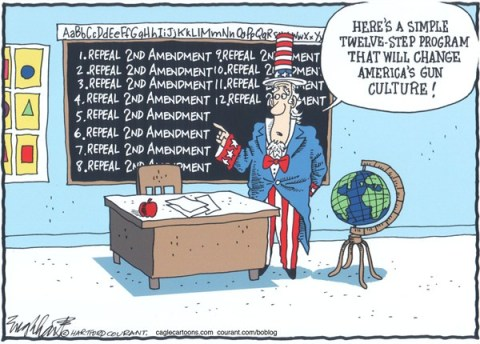 Bob Englehart - The Hartford Courant - Repeal the 2nd Amendment COLOR - English - guns,gun nuts,weapons,rifles,sig sauer,bushmaster,newtown,sandy hook elementary school,pistols,automatic weapons,connecticut shooting, gun debate 2012, nra