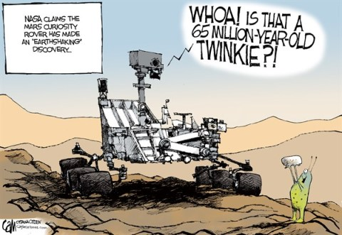Cardow - The Ottawa Citizen - Earthshaking COLOR - English - Mars, curiosity, rover, discovery, Twinkies, life, organism, ancient