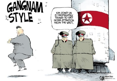 Cardow - The Ottawa Citizen - Gangnam Kim COLOR - English - Kim, Jong, Un, North, Korea, nukes, nuclear, missile, threats, Gangnam