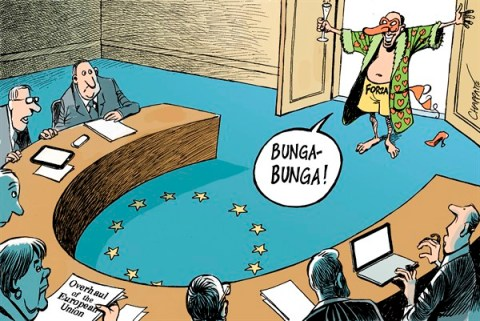 Patrick Chappatte - Le Temps, Switzerland - Italy Berlusconi is back  - English - European Union, Italy, Berlusconi, Merkel, Crisis, Economy, Sexuality, Women, Scandal