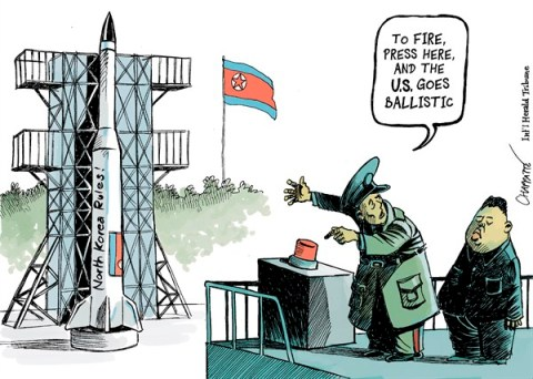 Patrick Chappatte - The International Herald Tribune - North Korea fires a missile - English - Asia, North Korea, USA, Kim Jong-un, Nuclear Proliferation, Bomb, Atom, Space, Communism