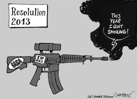 Patrick Chappatte - The International Herald Tribune - NEW YEAR'S RESOLUTION - English - New Year,Party,USA,Weapons,NRA,School,Death,Newtown,new year 2013, nra, NRA 2012, second amendment