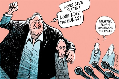 Patrick Chappatte - Le Temps, Switzerland - Depardieu, Russian Citizen - English - Depardieu, Putin, France, Russia, Taxes, Tax haven, Naturalization, Cinema, Arts