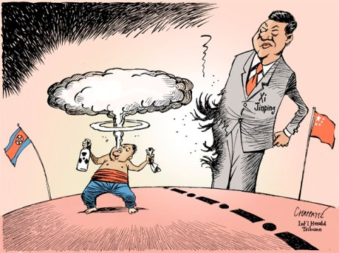 Patrick Chappatte - The International Herald Tribune - North Korea and China - English - Asia, North Korea, China, Kim Jong-un, Xi Jinping, Nuclear Proliferation, Bomb, Atom, Communism