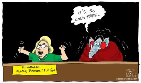 Larry Wright - CagleCartoons.com - COLD A cold Hillary - English -