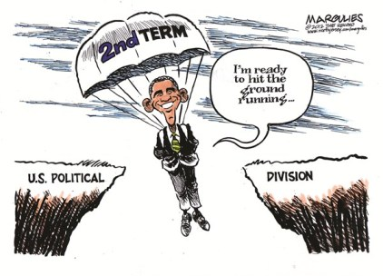 Jimmy Margulies - The Record of Hackensack, NJ - Obama 2nd term color - English - Obama 2nd term, Obama reelection, Obama wins, US political division, Washington, DC gridlock, political gridlock, Congress,