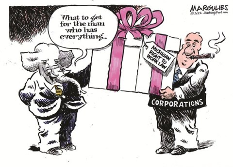 Jimmy Margulies - The Record of Hackensack, NJ - Right to work law color - English - Right to work, Unions, Labor, Middle Class, Michigan Right to work law