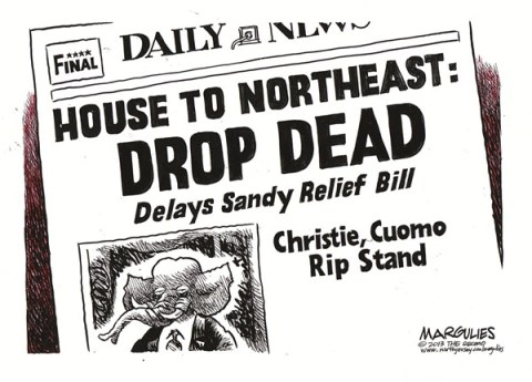 Jimmy Margulies - The Record of Hackensack, NJ - Congress delays Sandy relief color - English - Sandy Relief, Congressional Republicans, Natural disasters, Christie, Cuomo