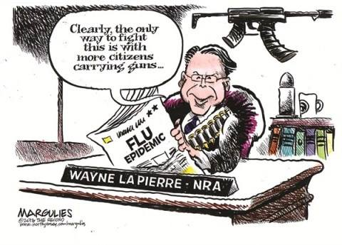 Jimmy Margulies - The Record of Hackensack, NJ - Flu epidemic color - English - Flu, flu epidemic, NRA, guns, gun violence, Wayne LaPierre, Gun lobby, assault weapons, gun control