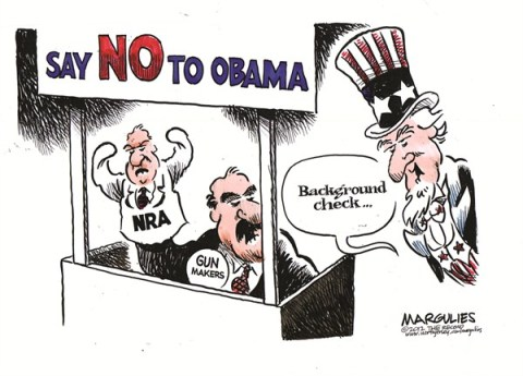 Jimmy Margulies - The Record of Hackensack, NJ - NRA and Gun  makers color - English - NRA, Gun control, background checks, Assault weapons, Gun makers, Obama gun policy, Gun violence, Second amendment
