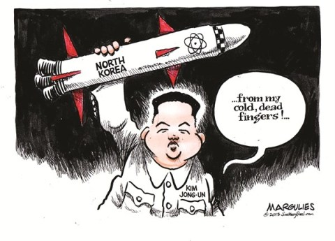 Jimmy Margulies - The Record of Hackensack, NJ - North Korea nukes color - English - North Korea, Kim Jong-Un, North Korea nukes, North Korea missile testing, South Korea, China