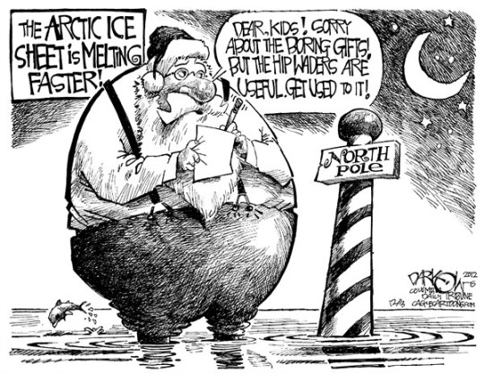 John Darkow - Columbia Daily Tribune, Missouri - North Pole Melting - English - Waders,Water,North Pole,Santa,Kids,List,Useful,Arctic,Ice,Melt,Sheet,Fast Fish,Jump, climate change, global warming