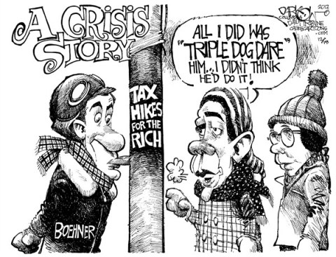 John Darkow - Columbia Daily Tribune, Missouri - Triple Dog Dare - English - Triple, Dog, Dare, Tongue, Stick, Frozen, Ice, Tax, Hikes, Rich, Crisis, Story, Boehner, Government, Politics