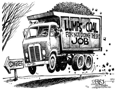 John Darkow - Columbia Daily Tribune, Missouri - Coal for Congress - English - Congress, Lump, Coal, Christmas, Santa, Dump Truck, Job, Lack, Slacking, Road, Year, Government, Political