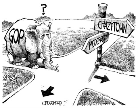 John Darkow - Columbia Daily Tribune, Missouri - GOP at Crossroad - English - Road, Cross, GOP, Elephant, Republican, Democrat, Direction, Crazy, Town, Moderate, Moderation, Politics, Government